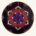 Bordó-lila mandala, Dekoráció, Otthon, lakberendezés, Kép, Falikép, Festészet, Üvegművészet, Kézzel vágott-csiszolt, 18 cm-es üveglapra készült mandala. A termék saját minta alapján, üvegfesté..., Meska