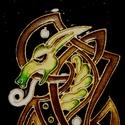Kelta sárkány  (üvegfestmény), Dekoráció, Képzőművészet, Férfiaknak, Festmény, Festészet, Üvegművészet, Üvegfestéssel készült kelta sárkány, fekete háttérrel.  A kép mérete kerettel: Magassága 30,2 cm, s..., Meska