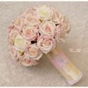Eper-Vanília menyasszonyi csokor, Esküvő, Esküvői csokor, Esküvői ékszer, Hajdísz, ruhadísz, Virágkötés, A termék megrendelhető!!! (Nagyon hasonló elkészítése lehetséges, mert a virágmintás csipke egyszer..., Meska
