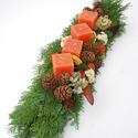 Adventi koszorú hosszúkás 40 cm, Dekoráció, Karácsonyi, adventi apróságok, Karácsonyi dekoráció, Ünnepi dekoráció, Virágkötés, Csak természetes anyagok felhasználásával készülő koszorú, mely kandallópárkány, tálalószekrény vag..., Meska