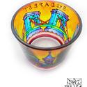 """""""Lánchíd Halászbastyával"""" üvegfestett színes mécsestartó, Magyar motívumokkal, Otthon, lakberendezés, Dekoráció, Gyertya, mécses, gyertyatartó, Festett tárgyak, Üvegművészet, Az üvegből készült mécsestartót Budapest mesés forgataga ihlette, üvegfestés technikával készítettü..., Meska"""