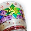 Karácsonyi csillagos - norvég mintás mécsestartó, Otthon, lakberendezés, Dekoráció, Gyertya, mécses, gyertyatartó, Üvegművészet, A csillag klasszikus karácsonyi motívumként minden szoba hangulatos keigészítője. Az égő mécses a t..., Meska
