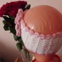 PÁNTOCSKÁM, Baba-mama-gyerek, Ruha, divat, cipő, Kendő, sál, sapka, kesztyű, Horgolás, Fehér akril fonalból horgoltam a fejpántot rózsaszín szegéllyel nagy virággal.A  virág közepén gyön..., Meska