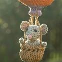Horgolt amigurumi hőlégballon egérkével - rendelésre, Baba-mama-gyerek, Dekoráció, Dísz, , Meska