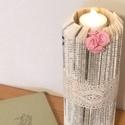 Gyertya könyv szobor, Esküvő, Otthon, lakberendezés, Esküvői dekoráció, Gyertya, mécses, gyertyatartó, Papírművészet, Újrahasznosított alapanyagból készült termékek,  Régi könyvből, precíz hajtogatással készült, csipkével, pink rózsával díszített gyertya.  A termék..., Meska