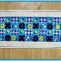 Türkiz virágos asztali futó, terítő, Otthon, lakberendezés, Dekoráció, Lakástextil, Terítő, Varrás, Egyedi, saját ihletésű tavaszi- nyári terítő.  Türkiz - kék - sárga virág mintás asztal terítő, asz..., Meska