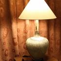 Kerámia asztali lámpa, Otthon, lakberendezés, Lámpa, Asztali lámpa, Kerámia, Kézzel készített egyedi kerámia asztali lámpa. A lámpatest rusztikus felületű samottos kerámia. A t..., Meska
