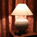 Rusztikus kerámia asztali lámpa , Otthon, lakberendezés, Lámpa, Asztali lámpa, Kerámia, Kézzel készített egyedi kerámia asztali lámpa. A lámpatest rusztikus felületű samottos kerámia. A t..., Meska