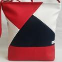 Textilbőr táska patchwork mintával, Baba-mama-gyerek, Ruha, divat, cipő, Táska, Válltáska, oldaltáska, Patchwork, foltvarrás, Varrás, Sötétkék-fehér-piros textilbőrből készítettem ezt a vidám, finom vonású, tavaszi táskát.  Egyedi mi..., Meska