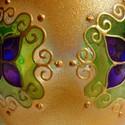 Mandala mécses, Dekoráció, Otthon, lakberendezés, Gyertya, mécses, gyertyatartó, Festett tárgyak, Gyertya-, mécseskészítés, Hordó alakú, közepes méretű mécsest festettem arany bevonattal...  Színei: arany, lime zöld, lila, ..., Meska