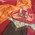 Egyedi teljesen kézzel készült hastáncruha, Ruha, divat, cipő, Női ruha, Kosztüm, Varrás, Narancssárga-barna-arany színösszeállítású hastáncruha-szett. Anyaga: muszlim kendő, viszkózselyem ..., Meska