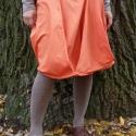 narancssárga szoknya, Ruha, divat, cipő, Női ruha, Szoknya, Varrás, pamut vászonból készült csípőszoknya, alja pontonként összehajtva, levarrva, oldalán zippzárral. Eg..., Meska