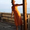 narancssárga ruha, Ruha, divat, cipő, Női ruha, Szoknya, Ruha, Varrás, pöttyös térdig érő ruha merész hátkivágással Egyedi igény szerint méretre is készíthető  az eredeti..., Meska
