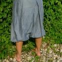 sötétkék nadrágszoknya, Ruha, divat, cipő, Női ruha, Nadrág, Varrás, gombos-cipzáros, térd alá érő, gumis szárú nadrágszoknya  (csípőre illeszkedő) Csak rendelésre ké..., Meska