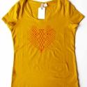 Rókás póló, okker, H M, M, Ruha, divat, cipő, Női ruha, Felsőrész, póló, Kézi szitanyomással készült ez a rókás póló, mely H&M márkájú, pamut,okker sárga, mérete M-es. A rók..., Meska