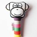majom csörgő, színes, Baba-mama-gyerek, Játék, Játékfigura, Húsvéti apróságok, A legkisebbek számára készült ez a kis csörgő. Kb. tenyérnyi nagyságú(lásd az utolsó képen), puha po..., Meska