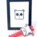 Panda maci szitanyomat, Baba-mama-gyerek, Karácsonyi, adventi apróságok, Gyerekszoba, Baba falikép, Egy helyes kis panda macis nyomat(keret nélkül) képezi az eladás tárgyát, melyet kézi szitanyomással..., Meska