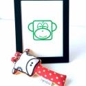 Zöld majom szitanyomat, Baba-mama-gyerek, Karácsonyi, adventi apróságok, Gyerekszoba, Baba falikép, Egy helyes kis majmos nyomat(keret nélkül) képezi az eladás tárgyát, melyet kézi szitanyomással kész..., Meska