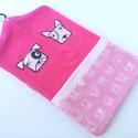 pink óvodai zsák kutyusos mintával(jackrussel, bullterrier), Baba-mama-gyerek, Gyerekszoba, Tárolóeszköz - gyerekszobába, Falvédő, takaró, Saját tervezésű mintából készült az alapanyag, melyet ehhez az óvodai zsákhoz felhasználtam. Egy juc..., Meska