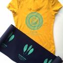 baglyos okker póló,  S-es, Ruha, divat, cipő, Női ruha, Felsőrész, póló, Kézi szitanyomással készült ez a baglyos póló, mely H&M márkájú, pamut,okker sárga, mérete S-es. A m..., Meska