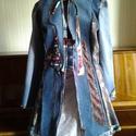 """AKCIO vintage kravátli tunika, Ruha, divat, cipő, Női ruha, Kabát, Felsőrész, póló, Varrás, Újrahasznosított alapanyagból készült termékek, vintage tunika farmer és selyem nyakkendő felhasználásával készült. Egyedi darab.Fiatalos """"bolondos..., Meska"""