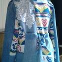 """AKCIO csipkés vintage farmerkabát, Ruha, divat, cipő, Női ruha, Kabát, Újrahasznosított alapanyagból készült termékek, Varrás, Fiatalos""""bolondos""""vidám kabátkám a tavasz hangulatát varázsolja elénk.Virágos kötött anyagot kombin..., Meska"""