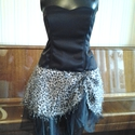 AKCIO Afrika miniruha boleroval, Ruha, divat, cipő, Női ruha, Estélyi ruha, Varrás, Fekete felső,merevitve,fűzővel ellátva. Szoknya mintás azonos a boleroval. A szoknya fekete tüllel ..., Meska