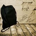 Fekete Vintage Műbőr Tornazsák, Táska, Hátizsák, Tarisznya, Varrás,  Fekete vintage műbőrből készült tornazsák fekete pamut zsinórral., Meska