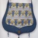Kék, fantázia mintás, 2.fedeles táska, Táska, Ruha, divat, cipő, Baba-mama-gyerek, Válltáska, oldaltáska, Varrás, Gyöngyfűzés, Kék, vastag, jó tartást biztosító dekorszövetből készült csepp formájú táska, melynek elejét nyomot..., Meska