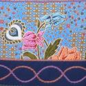 Kék, virág mintás 2. válltáska, Magyar motívumokkal, Ruha, divat, cipő, Táska, Válltáska, oldaltáska, Patchwork, foltvarrás, Varrás, Bézs, bútorszövet alapanyagból készült, középrész egy-egy hajtással díszített táska. Felső részét a..., Meska