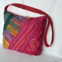 Pink,  pöttyös válltáska, Táska, Ruha, divat, cipő, Baba-mama-gyerek, Válltáska, oldaltáska, Varrás, Piros pamut vászon és pink-zöld batikolt anyagból készült,  téglalap alakú táska. Elejét hullám von..., Meska