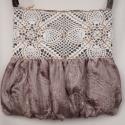 Csipkés, hímzett, krém színű táska, Esküvő, Táska, Ruha, divat, cipő, Válltáska, oldaltáska, Varrás, A krém színű táska, erős, jó tartást adó szövetből készült. Felső része csipkével díszített, alsó r..., Meska