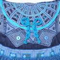 Kék csipkés, masnis, romantikus  válltáska, szivecskés fodorral, Ruha, divat, cipő, Táska, Baba-mama-gyerek, Válltáska, oldaltáska, Horgolás, Varrás, Erős, jó tartást biztosító, sötétkék kordbársonyból készítettem ezt a táskát, melynek elejét kézzel..., Meska