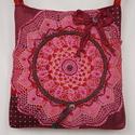 Rózsaszín, gyönyörű csipkés, masnis, vintage válltáska,   pöttyös anyaggal, Ruha, divat, cipő, Táska, Baba-mama-gyerek, Válltáska, oldaltáska, Horgolás, Varrás, Egész évben jól kihasználható, rózsaszín csipkés, romantikus, vintage táskát készítettem, hogy feld..., Meska