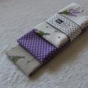 Levendulás textilzsebkendő szett - 3 darabos, Ruha, divat, cipő, Szépségápolás, Kendő, sál, sapka, kesztyű, Varrás, A szett három darab zsebkendőt tartalmaz: egy drapp, valamint egy fehér alapon levendula mintásat, ..., Meska