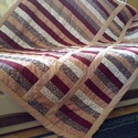 patchwork takaró, Otthon, lakberendezés, Lakástextil, Takaró, ágytakaró, Ágynemű, Varrás, Patchwork, foltvarrás, Patchwork technikával meleg őszi színekben készült takaró. Felső és az alsó része is pamutvászon, k..., Meska