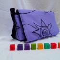 Lila pelenkázó táska kézzel festett virágokkal, Baba-mama-gyerek, Táska, Baba-mama kellék, Válltáska, oldaltáska, , Meska