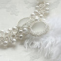 Madame Pompadour - horgolt fehér tekla gyöngy nyakék tollakkal, Esküvő, Ékszer, óra, Esküvői ékszer, Nyaklánc, Horgolás, Fémmegmunkálás, Ezt a különleges, feltűnő nyakéket vékony, ezüstözött, bevonatos ékszerdrótból horgoltam félig átte..., Meska