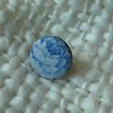 Blue Rose gyűrű, Ékszer, óra, Gyűrű, Ékszerkészítés, Kék rózsa mintás textil gyűrű.  Belső mérete: 25 mm.  , Meska