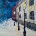 Téli este, Dekoráció, Képzőművészet , Kép, Festmény, Festészet, Éjszakai fények, házak feszített vásznon akrillal. A kép mérete:50x70cm, Meska