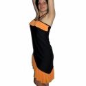 Gyakorló táncruha narancssárga fodorral, Ruha, divat, cipő, Női ruha, Ruha, Varrás,  Rugalmas jersey-ből készült, mely enyhén csillog és rendkívül kellemes a tapintása. Nyakba kötős, ..., Meska