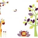 Oroszlános zsiráfos falmatrica szett tarka, Dekoráció, Baba-mama-gyerek, Falmatrica, Gyerekszoba, Fotó, grafika, rajz, illusztráció, 100cm magas fával: 13.255Ft +áfa  120cm magas fával: 15.555Ft +áfa  140cm magas fával: 19.275Ft +áfa..., Meska