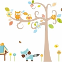 Hosszúra nyúló ágas fa mosómacivall falmatrica szett, Dekoráció, Baba-mama-gyerek, Falmatrica, Gyerekszoba, Fotó, grafika, rajz, illusztráció, 100cm magas fával a falmatrica összeállítás 17.590Ft+áfa Jobbos és balos verzió is van., Meska