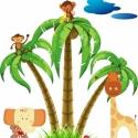 PÁlmás dzsungel falmatrica szett, Dekoráció, Baba-mama-gyerek, Falmatrica, Gyerekszoba, Fotó, grafika, rajz, illusztráció, Digitális technikával készült vektorrajz.  Más állatok is szerepelhetnek, ha a picikédnek nincs itt..., Meska