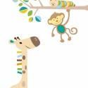 Kukacos faág zsiráffal, majommal falmatrica szett kisfiúknak, Baba-mama-gyerek, Dekoráció, Gyerekszoba, Falmatrica, Fotó, grafika, rajz, illusztráció, zsiráf: 110cm faág: 115cm  9950Ft+áfa, Meska
