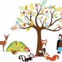 Erdei állatos falmatrica összeállítás 1, Baba-mama-gyerek, Dekoráció, Gyerekszoba, Falmatrica, Fotó, grafika, rajz, illusztráció, 150cm fával: 21.016+áfa, Meska
