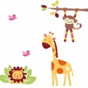 Tarka farkú kimajom állatokkal falmatrica szett, Dekoráció, Baba-mama-gyerek, Falmatrica, Gyerekszoba, Fotó, grafika, rajz, illusztráció, A verzió:11.626Ft+áfa  ZSIRÁF madarakkal 73 cm x 120 cm méretben  Ágon lógó kis majom 60 cm x 50 cm..., Meska