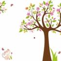 Emma fája kalitkával falmatrica összeállítás, Dekoráció, Baba-mama-gyerek, Falmatrica, Gyerekszoba, Fotó, grafika, rajz, illusztráció, Digitális technikával készült vektorrajz, melyet falmatricának gyártunk le többek között. A megadot..., Meska