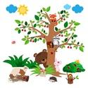 Cseresznyefa erdei állatokkal, Dekoráció, Baba-mama-gyerek, Falmatrica, Gyerekszoba, Fotó, grafika, rajz, illusztráció, Digitális technikával készült vektorrajz, melyet falmatricának gyártunk le.. A megadott méretektől ..., Meska