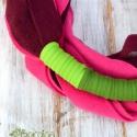 POLARIS burgundi, pink, zöld - csősál, sál, textilsál, Férfiaknak, Ruha, divat, cipő, Kendő, sál, sapka, kesztyű, Sál, Csomózás, Varrás, A POLARIS egy extravagáns csősál.  Puha, meleg polárból és színpompás jersey anyagból készül.  Hoss..., Meska